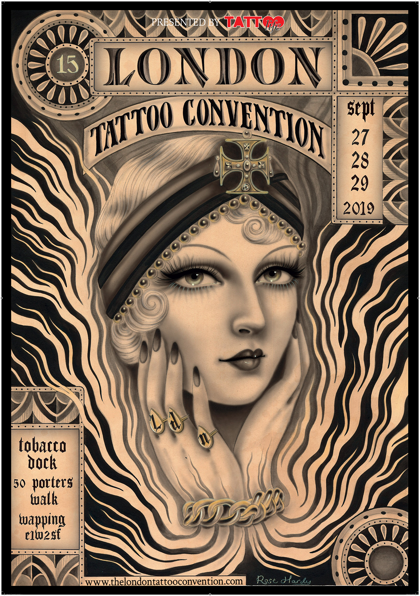 The London Tattoo Convention 2019 poster designed by Rose Hardy